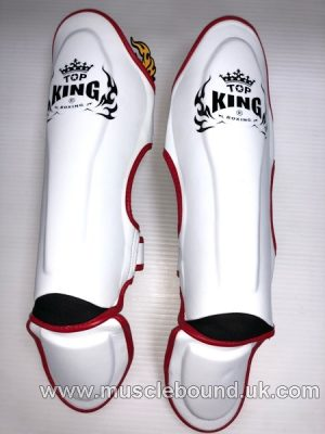 Kids shinguards white/ red piping