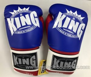 king boxing gloves 3 tone red/blue/white
