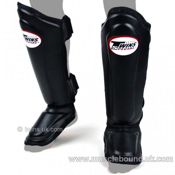 SGL-10 Twins Double Padded Leather black/ black Shin Pads