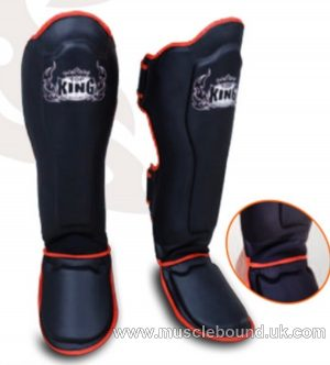 Top King Shinguards Black/ red piping