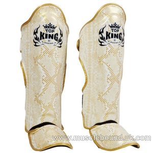 topking snake shinguards in yellow/ silver