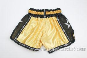new arrival gold/black mesh kids shorts