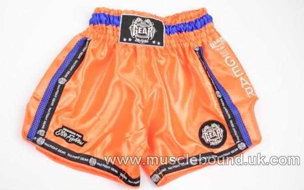 new arrival orange/ blue mesh side kids shorts