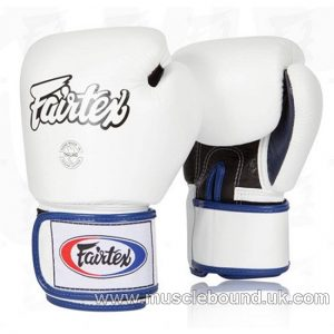 Fairtex 3-Tone White/blue trimming Boxing Gloves