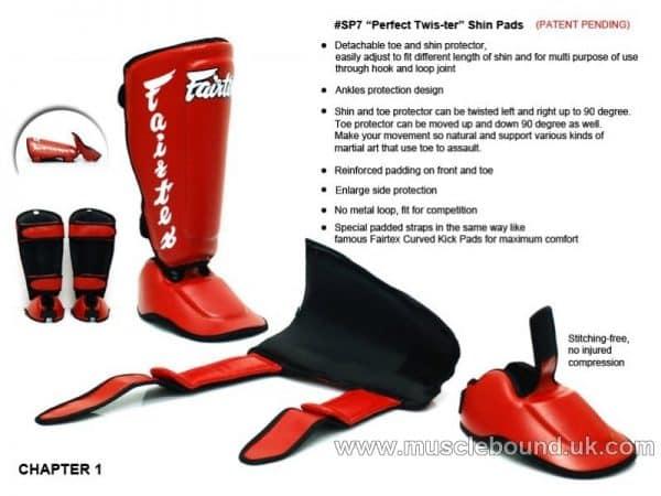 A-SP7 Fairtex Red Twister Detachable Shin Pads
