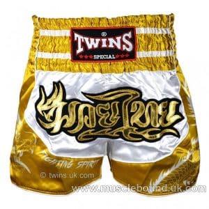 TWINS-Dragon-4 Twins White-Gold Dragon Muaythai Shorts