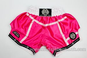 new arrival deep pink/ white satin lines kids shorts