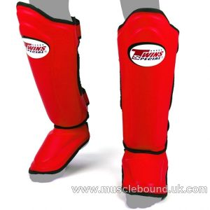 SGL-10 Twins Double Padded Leather Shin Pads Red/ black piping