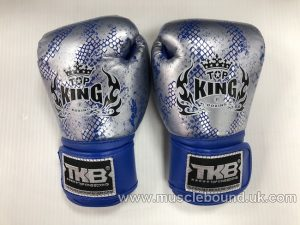 kids topking blue/silver snake print gloves