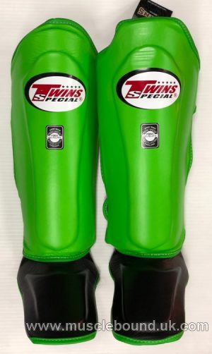 NEW SGL-10 Twins green/ black Double Padded Leather Shin Pads