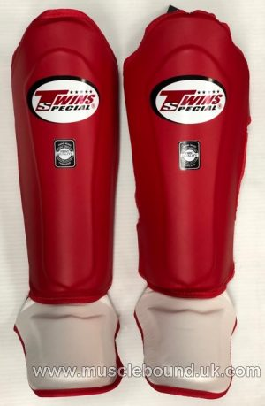 New SGL-10 Twins red/ White instep Double Padded Leather Shin Pads