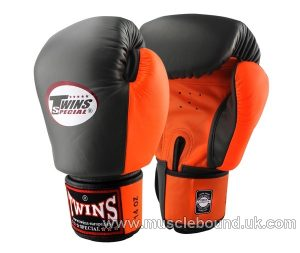 BGVL-3T Twins 2-Tone black-orange Boxing Gloves