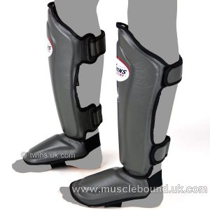 New SGL-10 Twins Double Padded Leather Shin Pads grey /black instep