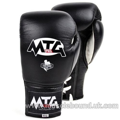MTG Pro Black Lace-up Boxing Gloves