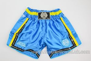 new arrival light blue/ yellow mesh kids shorts