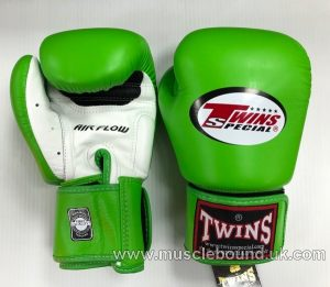 Twins 2-Tone Green/White Boxing Gloves air flow