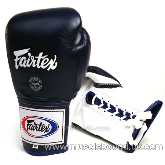 Fairtex Blue Lace-up Competition Gloves navy BGL-6