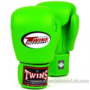 kids Twins Lime Green Velcro Boxing Gloves