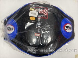 BEPL2 Twins Black/ blue Leather Belly Pad