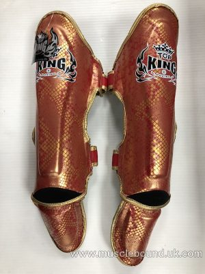 kids topking red/ gold snake print shinguards