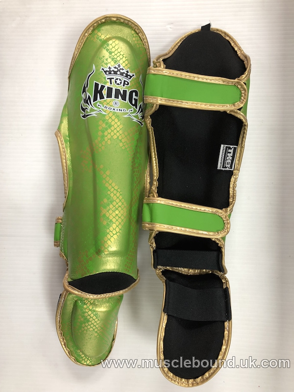 kids topking green/ gold snake print shinguards