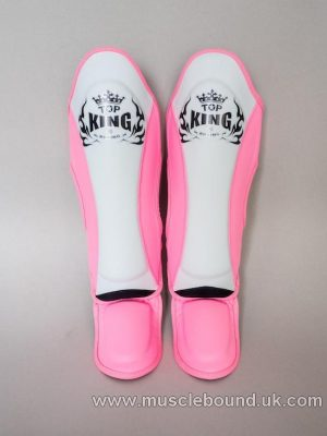 new topking adults shinguards 3 x tone white/ pink/pink
