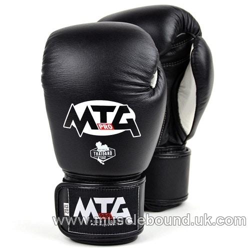 MTG Pro Black Velcro Boxing Gloves