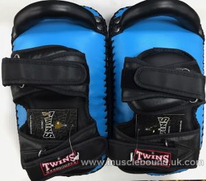 KPL-12 Twins Deluxe Curved Leather Kick Pads light blue/ black