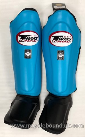 New SGL-10 Twins Double Padded Leather Shin Pads light blue /black instep