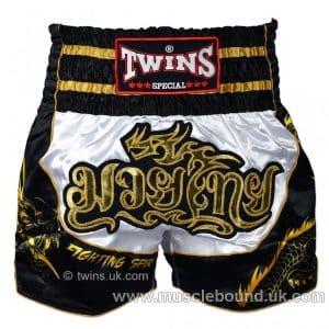 TWINS -Dragon-3 Twins White-Black Dragon Muaythai Shorts
