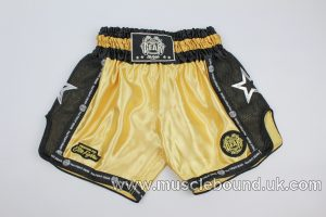 new arrival gold/black mesh kids shorts