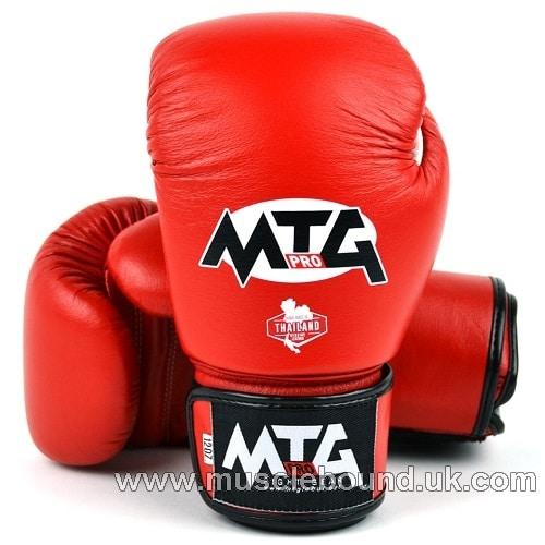 MTG Pro Red Velcro Boxing Gloves