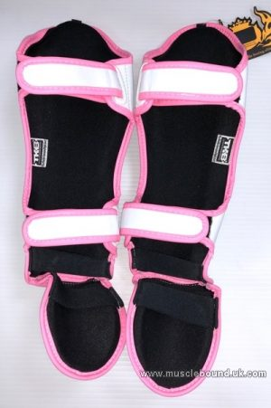 Kids shinguards white/ pink piping