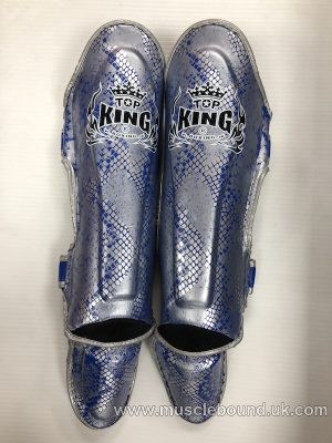 kids topking blue/ silver snake print shinguards