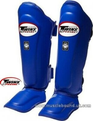 SGL-10 Twins Double Padded Leather Shin Pads Blue /white piping