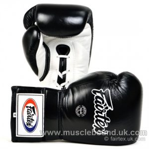 Fairtex Black-White Lace-up Sparring Gloves