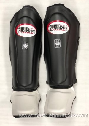 NEW SGL-10 Twins Black/white Double Padded Leather Shin Pads