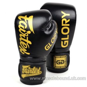 BGVG1 Fairtex X Glory Black Velcro Boxing Gloves