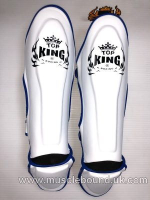 Kids shinguards white/ blue piping