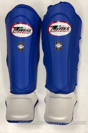 NEW SGL-10 Twins blue/ white Double Padded Leather Shin Pads
