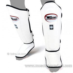 SGL-10 Twins White Double Padded Leather Shin Pads