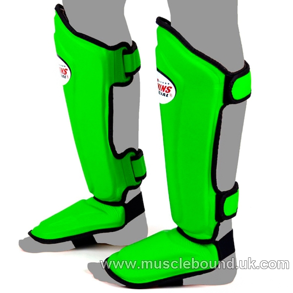 SGL-10 Twins Double Padded Leather Shin Pads green /black instep