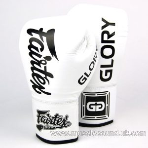 BGLG1 Fairtex X Glory White Lace-up Boxing Gloves