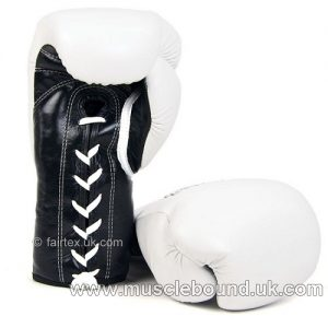 Fairtex White-Black Lace-up Sparring Gloves