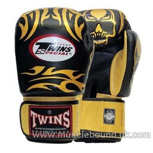 Twins Black/ gold skull Boxing Gloves