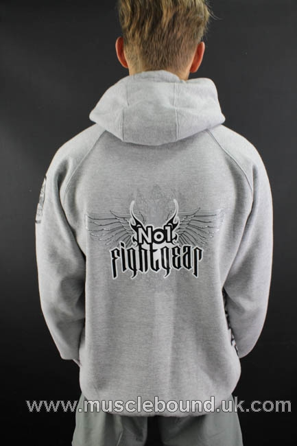 no1 fight gear pullover hoodie in grey