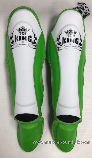 new topking kids shinguards 3 x tone white/green/green
