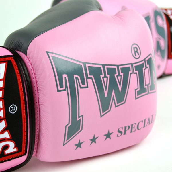 BGVL3-2TA Twins Pink-Grey 2-Tone Boxing Gloves